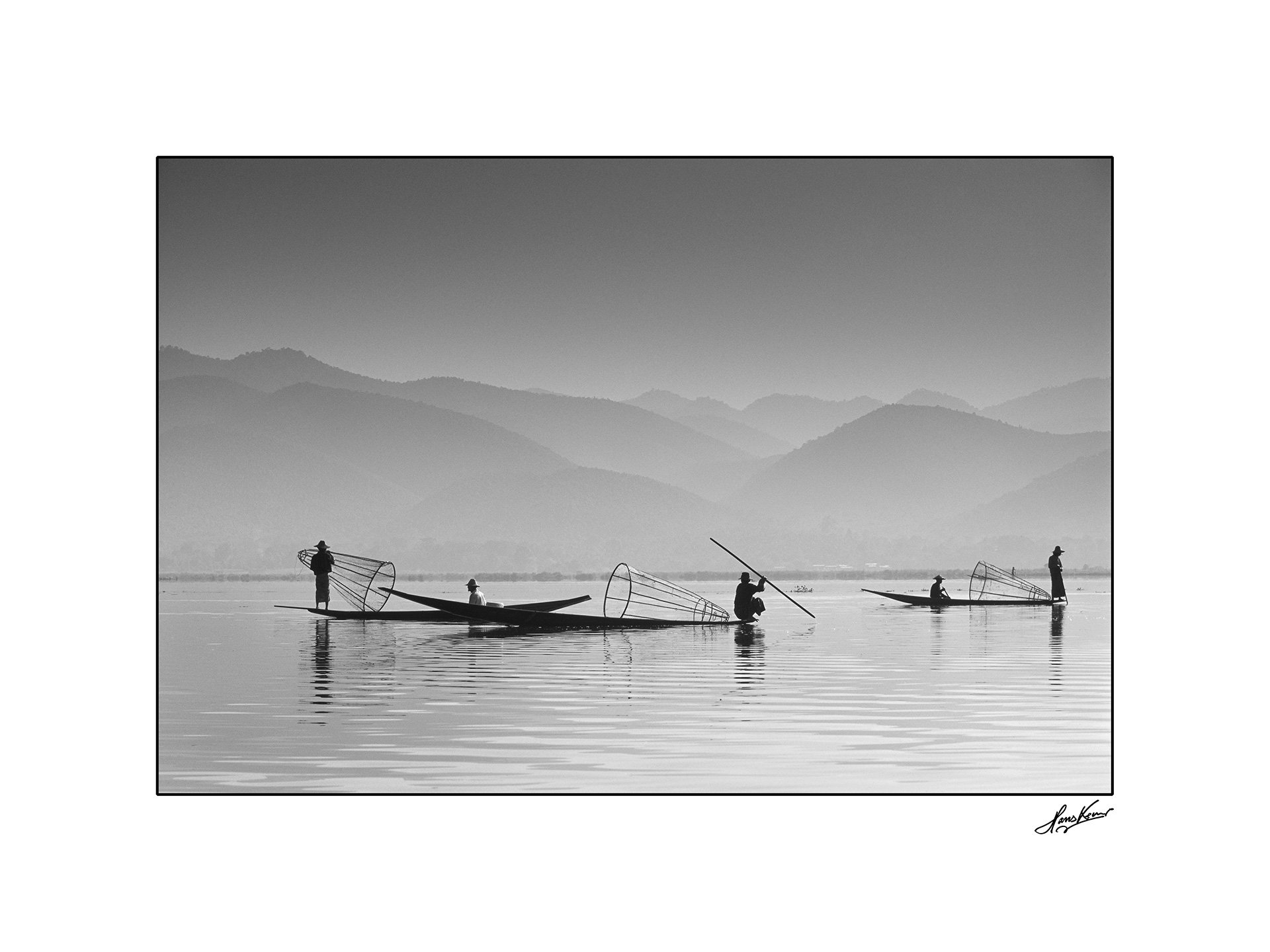 Inle Lake fishermen, Myanmar, 2001