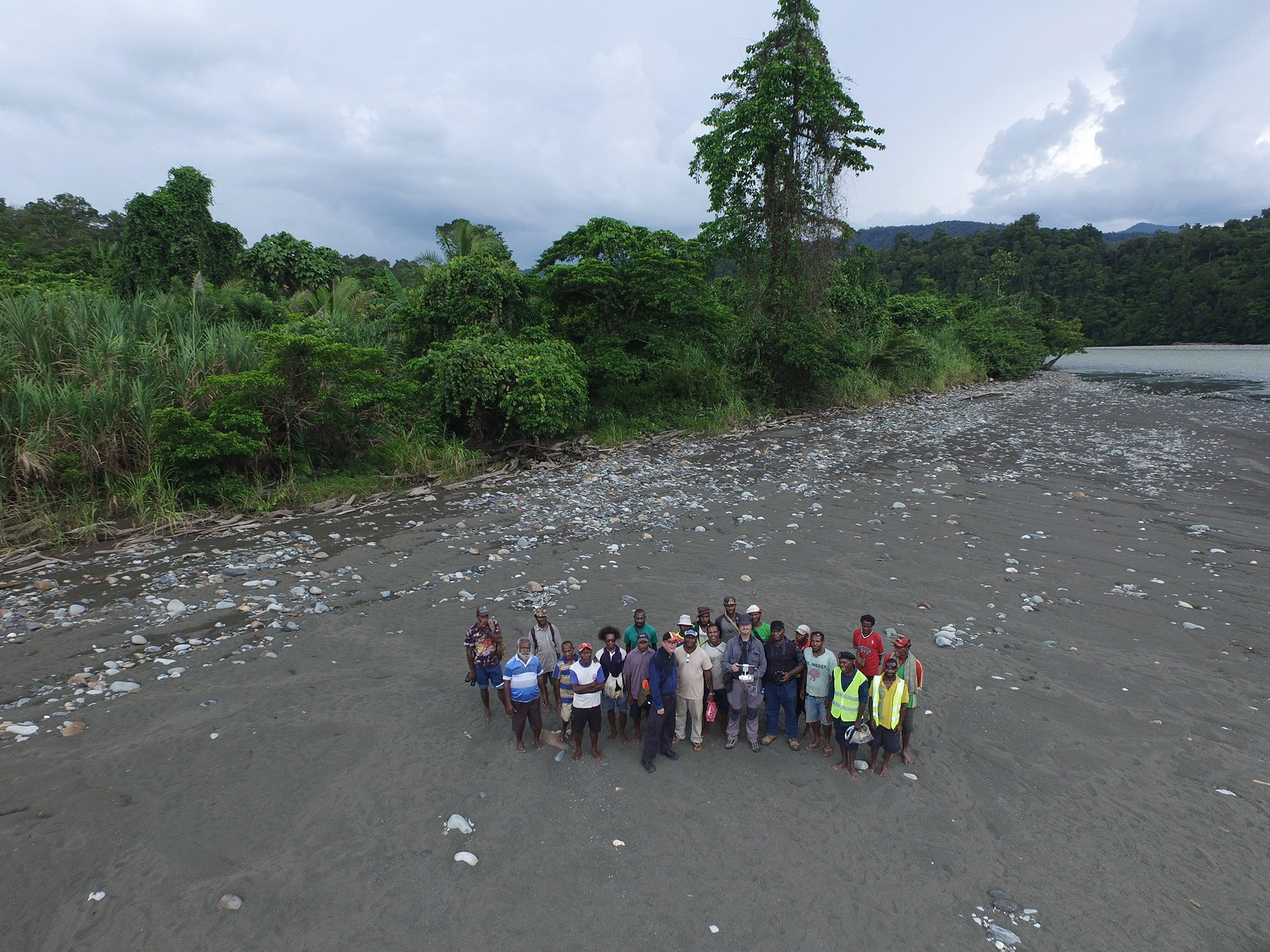 Flying the drone together with the villagers.