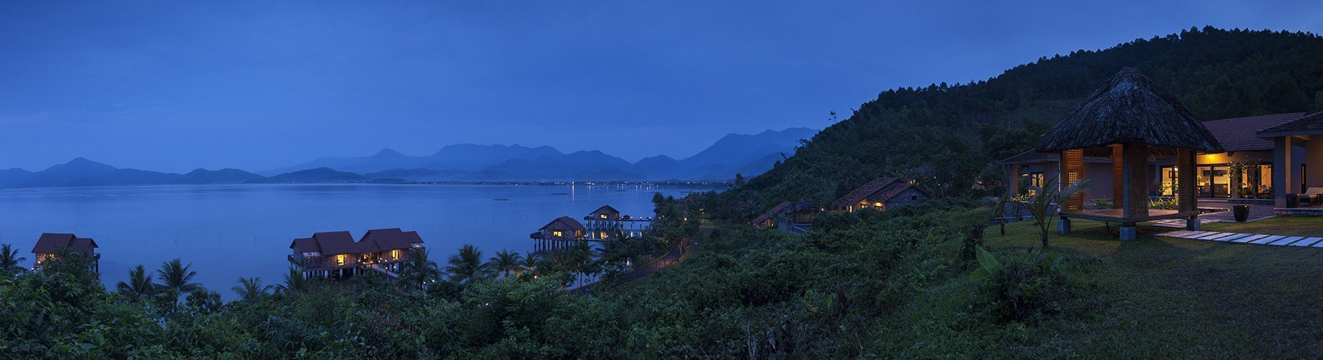 The Vedana Lagoon resort & spa at dusk. Hue, Vietnam.