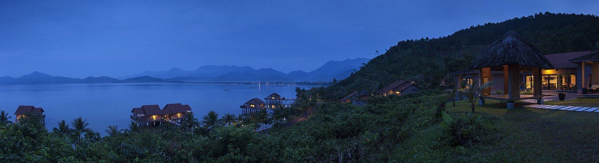The Vedana Lagoon resort & spa at dusk. Hue, Vietnam.