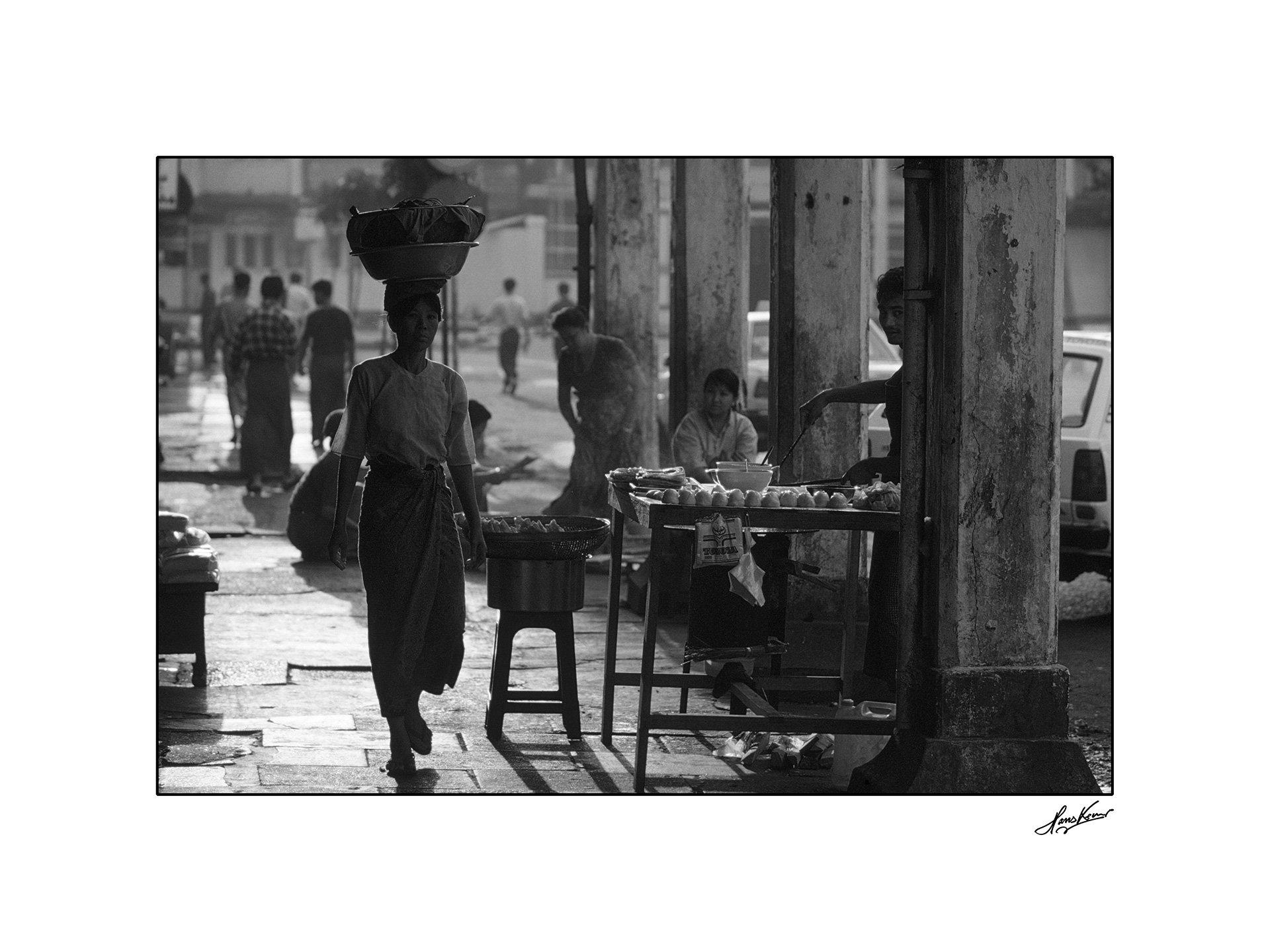 Yangon sidewalk, Myanmar, 2001