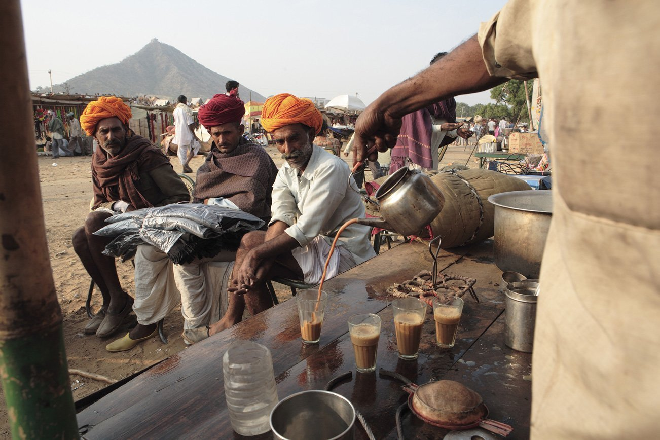 Traders having a cup of milky tea.