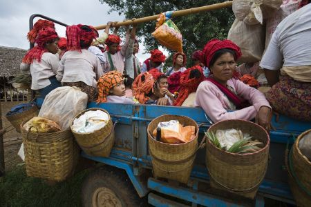 Pa-O women returning home from the market, Inle Lake, Myanmar 2012