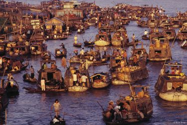 Floating market in the Mekong Delta, Vietnam, 1992