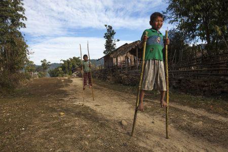 Boys playing. Putao, Kachin State, Myanmar, 2015
