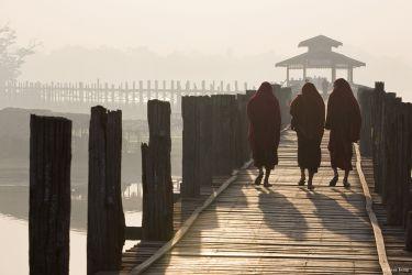 Monks on the Ubein Bridge near Mandalay, Myanmar, 2012