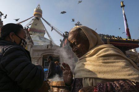Worshippers at Bodnath Stupa, Kathmandu, Nepal, 2016
